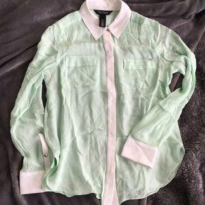ce32a545533b9 White House Black Market Tops - Silk Seafoam Green Button-down Blouse